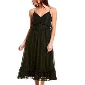 NWT. Madewell Black Shimmer Metallic Ruffle Dress.